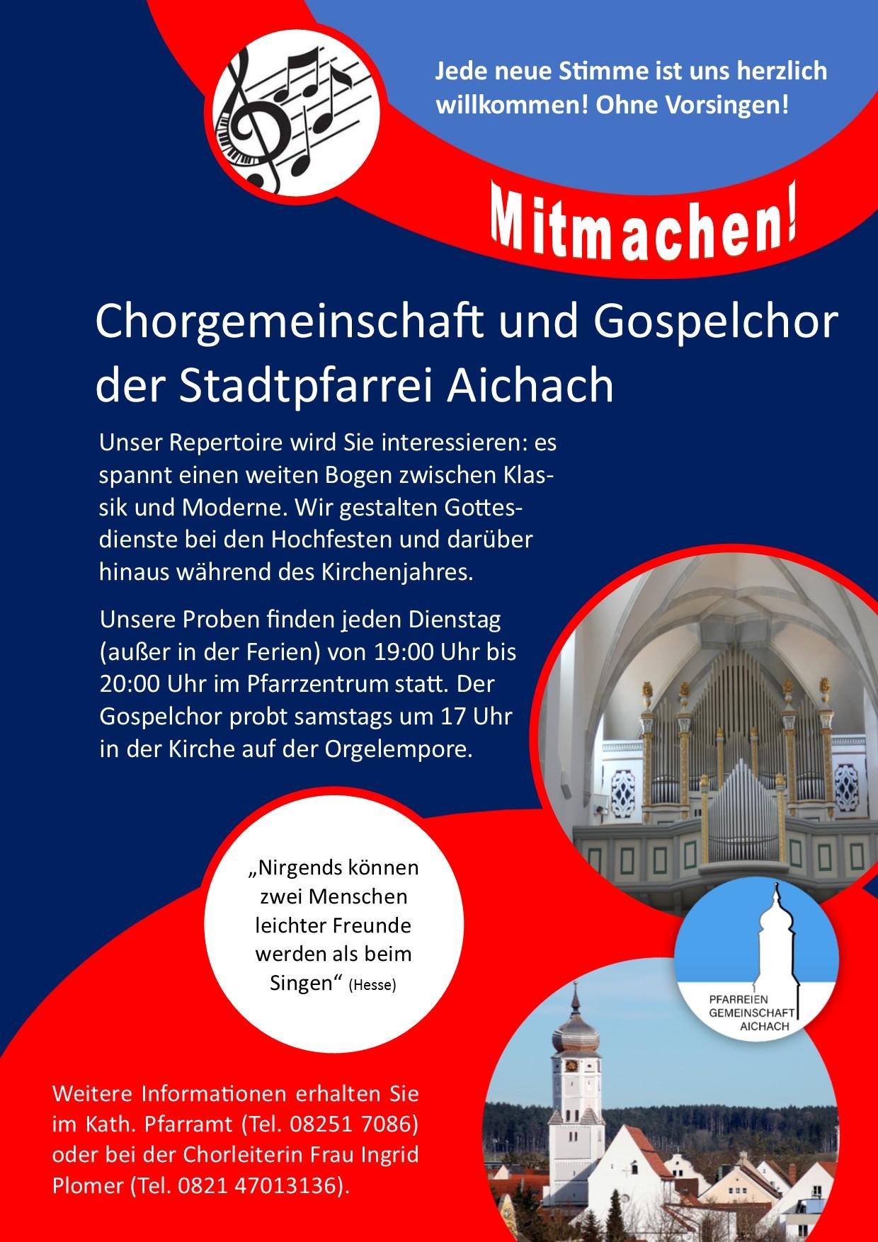 Plakat Werbeaktion für neue ChormitgliederAIC2021